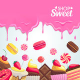 Sweet dessert food frame  on white background. Stock Image