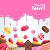 Sweet dessert food frame  on white background. Stock Image