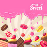 Sweet dessert food frame  on white background. Stock Photos