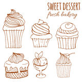 Sweet dessert, fresh bakery, background hand-drawn cupcakes, cakes, menus, invitations, banners. Vector sweet dessert, fresh bakery, background hand-drawn Royalty Free Stock Photo