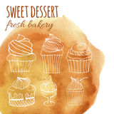 Sweet dessert, fresh bakery, background with watercolor hand-drawn cupcakes, cakes, menus, invitations, banners. Vector sweet dessert, fresh bakery, background Stock Images