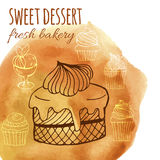 Sweet dessert, fresh bakery, background with watercolor hand-drawn cupcakes, cakes, menus, invitations, banners. Vector sweet dessert, fresh bakery, background Royalty Free Stock Photos