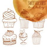 Sweet dessert, fresh bakery, background with watercolor hand-drawn cupcakes, cakes, menus, invitations, banners. Vector sweet dessert, fresh bakery, background Royalty Free Stock Photo