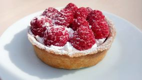Sweet dessert with fresh raspberry and cream royalty free stock images