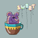 Sweet dessert. Funny illustration. The sweetness in the form of a mouse. Sweet dessert in a cup. Text in form balloons. All elements on separate layers, it is Royalty Free Stock Images
