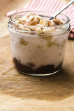 Sweet dessert in glass jar - strawberry cake Royalty Free Stock Photo