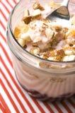 Sweet dessert in glass jar - strawberry cake Stock Image