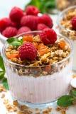 Sweet dessert with granola, fresh raspberries and fruit yoghurt. Sweet dessert with granola, fresh raspberries and fruit  yoghurt, vertical closeup Stock Image
