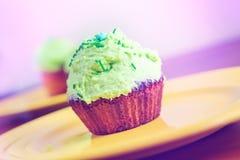 Sweet dessert with green cream Stock Photo