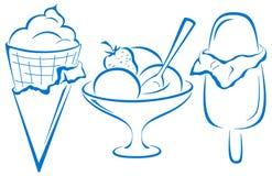 Ice-cream, set. Sweet dessert, ice-cream, set symbolical blue monochrome pictograms Royalty Free Stock Photo