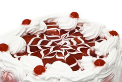 Sweet dessert - iced cake with cherries Royalty Free Stock Images