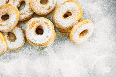 Sweet dessert with many donut. On top with sugar icing - Unhealthy food style stock photos