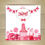 Sweet or dessert menu desing. On wooden texturre Royalty Free Stock Images