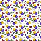 Sweet dessert, purple and yellow macaroons with berries, seamless watercolor pattern royalty free illustration
