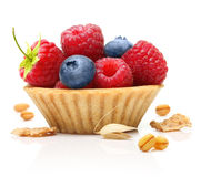 Sweet dessert, raspberry and blueberry Royalty Free Stock Image