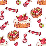 Sweet dessert. Seamless pattern with sweet dessert. Hand-drawn illustration. Vector Royalty Free Stock Photography