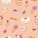 Sweet dessert. Seamless pattern with sweet dessert. Hand-drawn illustration. Vector Stock Image