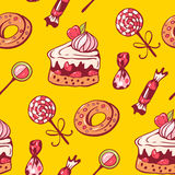 Sweet dessert. Seamless pattern with sweet dessert. Hand-drawn illustration. Vector Royalty Free Stock Images