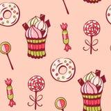 Sweet dessert. Seamless pattern with sweet dessert. Hand-drawn illustration. Vector Stock Images