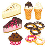 Sweet dessert set. Cake, ice cream, donut, cupcake Stock Photo