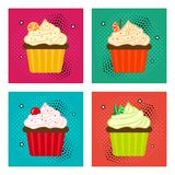 Set of fruit cupcake icons in pop art style. Vector illustration royalty free illustration