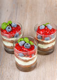 Sweet dessert tiramisu with strawberry Royalty Free Stock Images