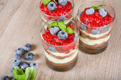 Sweet dessert tiramisu with strawberry Stock Photo