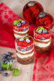 Sweet dessert tiramisu with strawberry Stock Photos