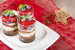 Sweet dessert tiramisu with strawberry Stock Photography