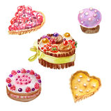 Sweet desserts. Set of fancy desserts. Watercolor Stock Photography