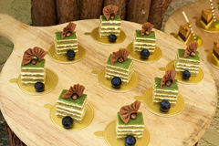 Sweet desserts with blueberries Stock Image