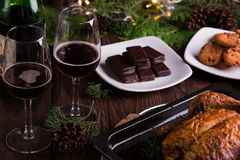 Sweet desserts chocolate cookies and biscuits for holidays: christmas, thanksgiving, new year's eve Stock Image