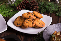 Sweet desserts chocolate cookies and biscuits for holidays: christmas, thanksgiving, new year's eve Royalty Free Stock Images