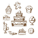 Sweet desserts icons with cake and pastry stock illustration