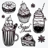 Sweet desserts icons set in vintage style. Stock Photography