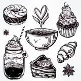 Sweet desserts icons set in vintage style. Stock Image