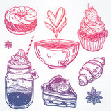 Sweet desserts icons set in vintage style. Royalty Free Stock Photography