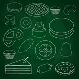 Sweet desserts outline icons on blackboard eps10 Royalty Free Stock Photo