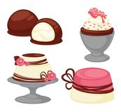 Sweet desserts and pastry cakes vector icons. Sweet desserts, pastry cakes and bakery cupcakes. Vector isolated icons of marshmallow in chocolate glaze, ice Stock Photography