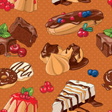 Sweet desserts seamless pattern. Seamless pattern with hand-drawn desserts vector illustrations vector illustration