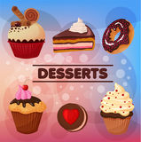 Sweet Desserts Set. Cupcakes, cookies in vector Stock Photos