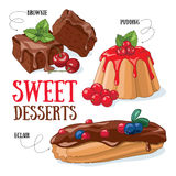Sweet desserts. Set of vector desserts illustrations: brownie, pudding, eclair royalty free illustration