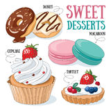 Sweet desserts. Set of 4 vector desserts illustrations: donuts, cupcake, macaroons, tartlet royalty free illustration