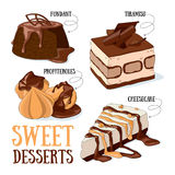 Sweet desserts. Set of 4 vector desserts illustrations: fondant, profiteroles, tiramisu, cheesecake vector illustration
