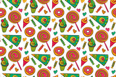 Sweet desserts vector seamless pattern. Endless background with lollipop, candy, ice cream, cupcake, donut, cake, heart. Sweet desserts vector seamless pattern Stock Images