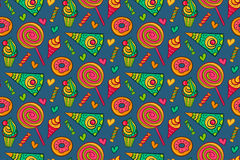 Sweet desserts vector seamless pattern. Endless background with lollipop, candy, ice cream, cupcake, donut, cake, heart. Stock Photography