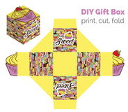 Sweet Do It Yourself DIY cupcake packaging for deserts, candies, small gifts, toys. Printable color scheme. Print it on Stock Images