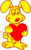 Sweet dog with a heart. Sweet Yellow Dog With A Red Heart Stock Photography