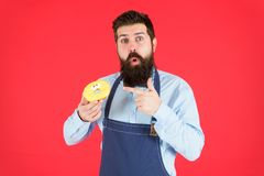 Sweet donut from baker. Man bearded baker in cooking apron hold cute dessert. Ways to reduce hunger and appetite. Hipster bearded baker hold glazed donut on stock images