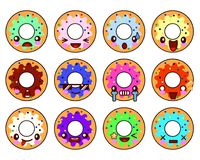Sweet donut character kawaii with glaze set of emoji facial expressions and activities. Funny food stickers, vector Royalty Free Stock Photos